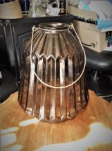 "LARGE 11"" RIBBED SMOKED GLASS LANTERN / CANDLE HOLDER JAR + METAL SWING HANDLE"